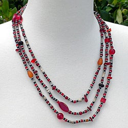Success Red Glass and Seed Beaded Necklace (Kenya)