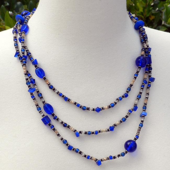 Success Blue Glass and Seed Beaded Necklace (Kenya)