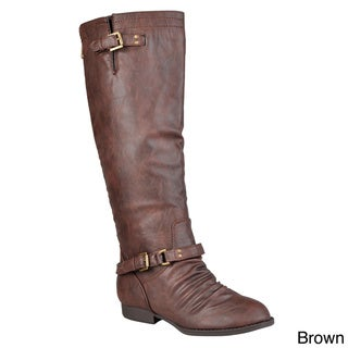 Journee Collection Women's Regular and Wide-Calf 'Stella-1' Knee-High Buckle-Strap Riding Boots