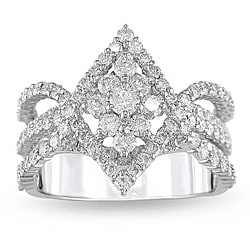 18k White Gold 1 7/8ct TDW Marquise Shape Diamond Ring (G-H, SI1-SI2)