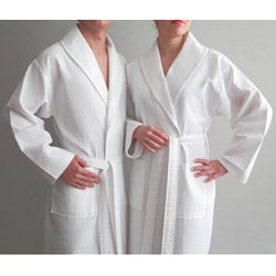 Authentic Hotel and Spa Turkish Cotton Unisex Waffle Weave Bathrobe