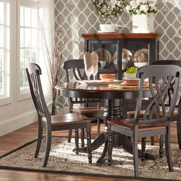 TRIBECCA HOME Mackenzie 5-piece Country Black Dining Set