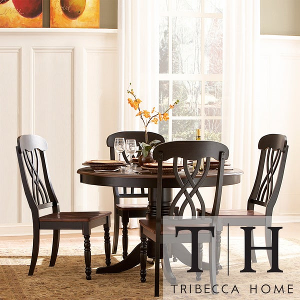 mackenzie 5 piece country black dining set table chairs