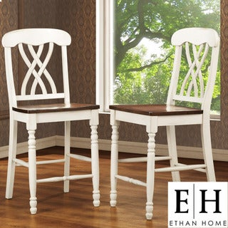ETHAN HOME Mackenzie White Counter Height Chair (Set of 2)