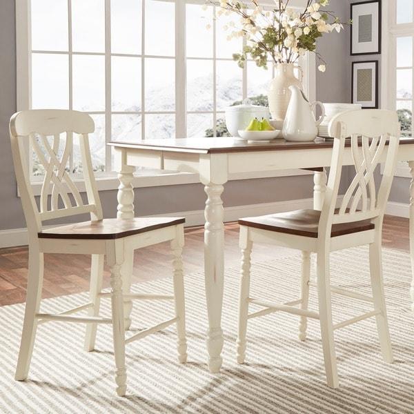 TRIBECCA HOME Mackenzie White Counter Height Chair (Set of 2)