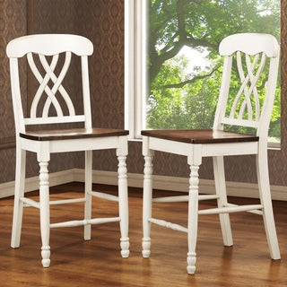 TRIBECCA HOME Mackenzie White Counter Height Chair (Set of 2)