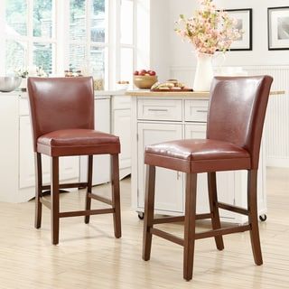 ETHAN HOME Estonia Lava Red Upholstered Counter Stool (Set of 2)