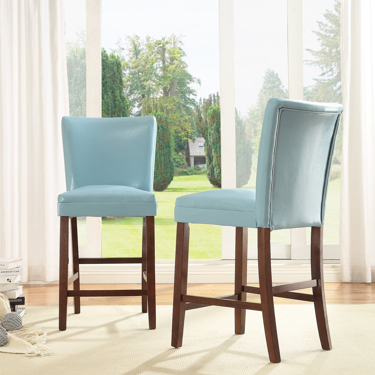 TRIBECCA HOME Estonia Sky Blue Upholstered Counter Stools (Set of 2) at Sears.com