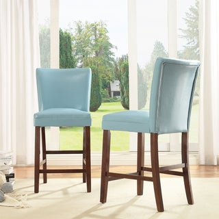 Estonia Sky Blue Upholstered Counter Stools (Set of 2)