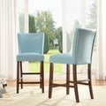 TRIBECCA HOME Estonia Sky Blue Upholstered Counter Stools (Set of 2)