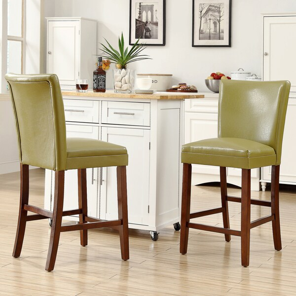 TRIBECCA HOME Estonia Olive Green Upholstered Counter Height Chairs (Set of 2)