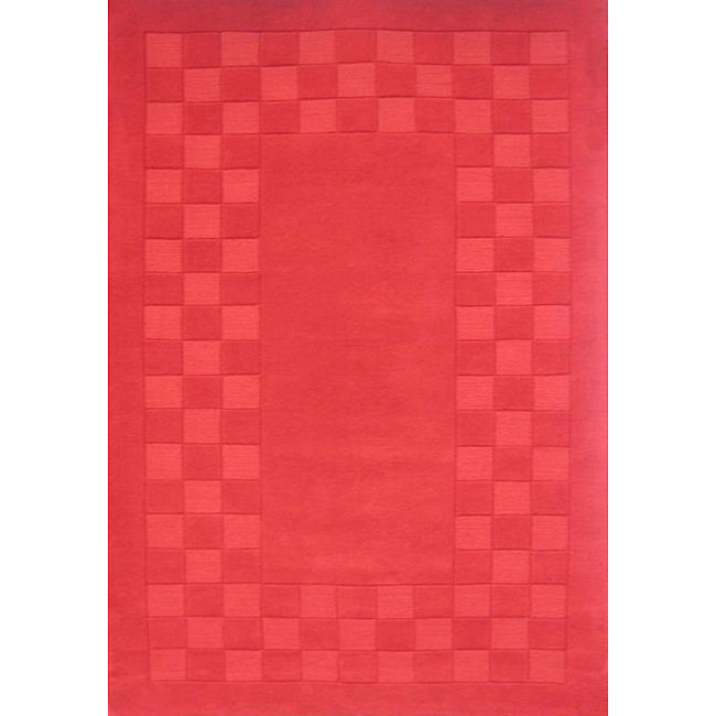 Hand-tufted Trendy Red Wool Rug (8' x 11')