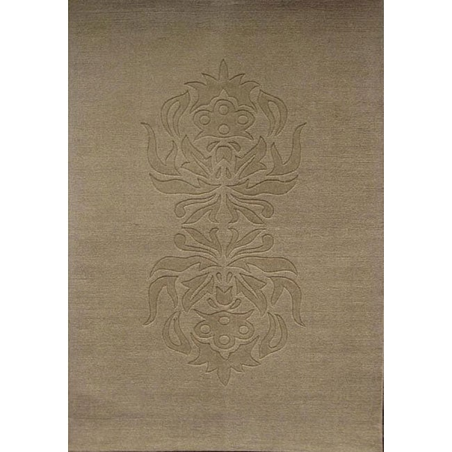 Hand-tufted Carving Tan Wool Rug (8' x 11')