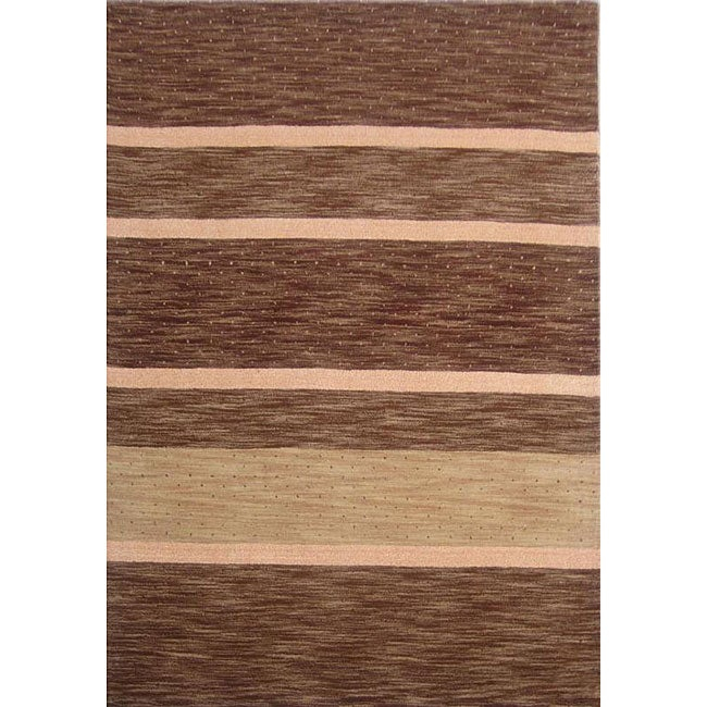 Overstock.com Hand-tufted Shadded Stripe Brown Wool Rug (8' x 11') at Sears.com