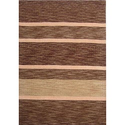 Hand-tufted Shadded Stripe Brown Wool Rug (8' x 11')