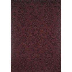 Hand-tufted Damask Wine Wool Rug (5' x 8')