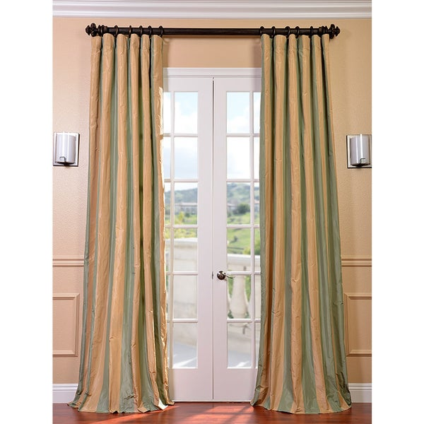 Exclusive Fabrics Signature Stripe Beige/ Sea Foam Green Faux Silk Taffeta 96-inch Curtain Panel