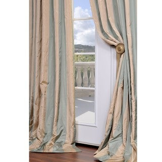 Signature Stripe Beige/ Sea Foam Green Faux Silk Taffeta 108-inch Curtain Panel