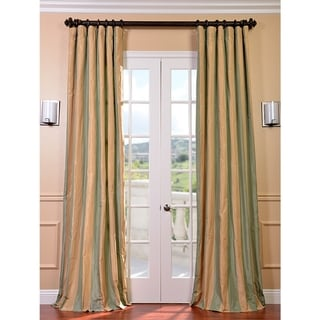 signature stripe beige sea foam green faux silk taffeta curtain panel