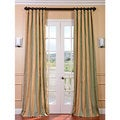 Signature Stripe Beige/ Sea Foam Green Faux Silk Taffeta Curtain Panel