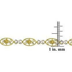 Mondevio 10k Two-tone Gold X and O Flower Link Bracelet