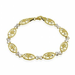 Mondevio 10k Two-tone Gold X and O Flower Link Bracelet