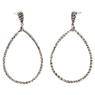 NEXTE Jewelry Antiqued-rhodium-finish Brass Hollow Teardrop Dangle Earrings