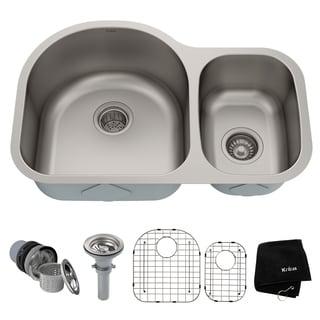 Kraus Kitchen Combo Set Stainless Steel Sat-in Undermount 2-bowl Sink