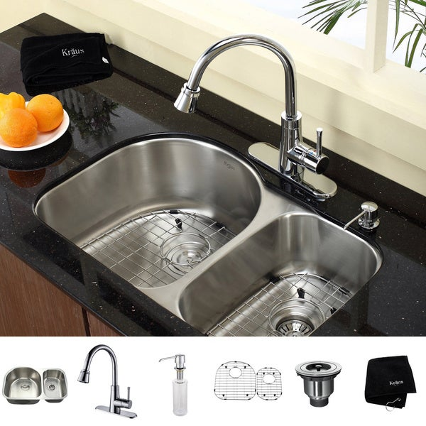 ... One Undermount Stainless Steel Double-bowl Kitchen Sink and Faucet Set
