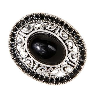 NEXTE Jewelry Silvertone Brass Black Laminate Resin Fashion Ring
