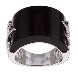 Kabella Sterling Silver Black Agate Saddle Ring