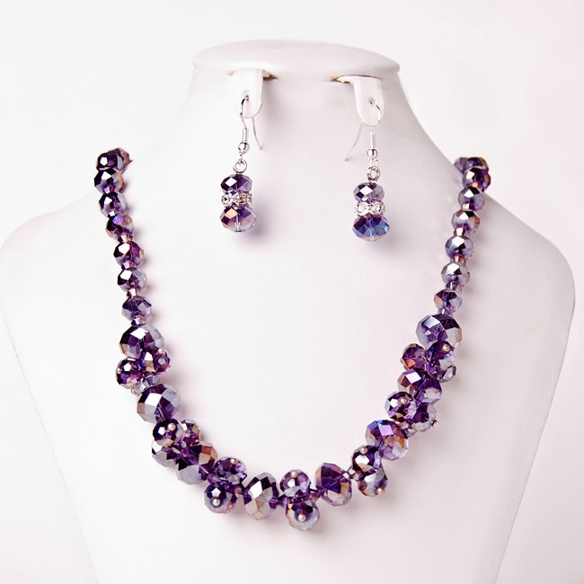 Purple Crystal Cluster Necklace and Earring Set