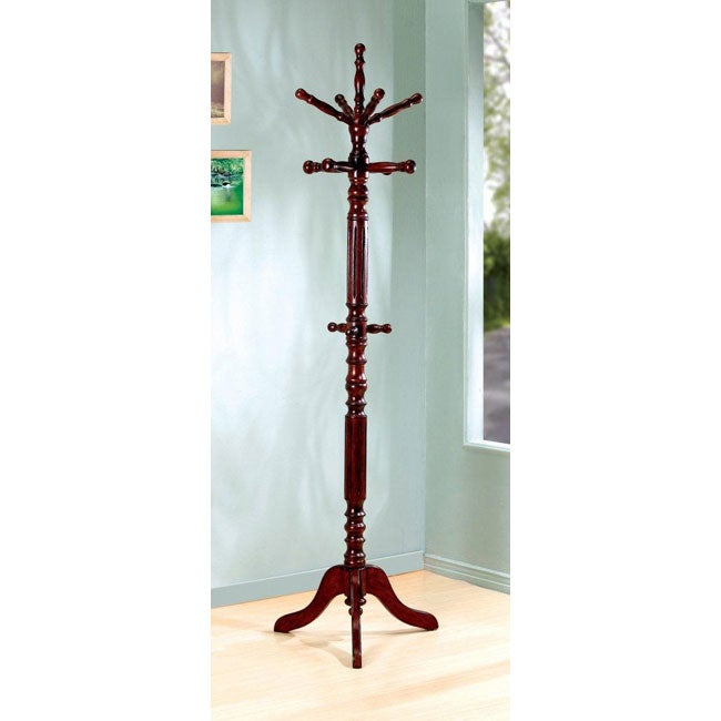 Traditional Walnut Finish Spinning Top Wood Coat Rack - 13014653 ...