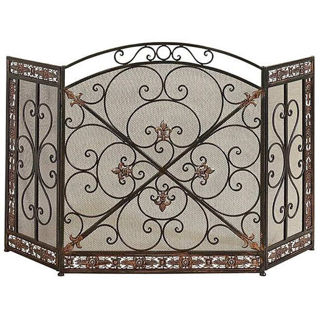 Overstock.com Antique Rustic Metal/ Mesh Fireplace Screen at Sears.com