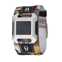 Nixon Men's 'The Block' Stainless Steel/Multicolored Fabric Digital Quartz Watch