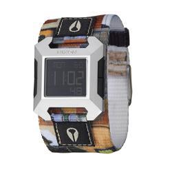 Nixon Men's 'The Block' Stainless Steel/Multicolored Fabric Digital Quartz Watch