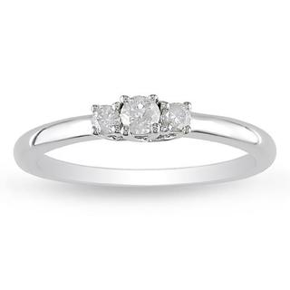 Miadora Sterling Silver 1/5ct TDW 3-Stone Diamond Ring (H-I, I2-I3)