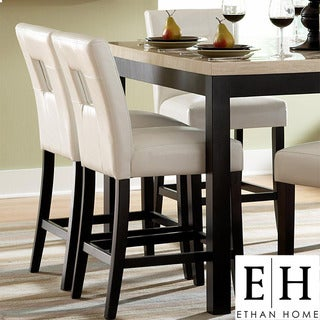 ETHAN HOME Mendoza White Keyhole Counter Height Stool (Set of 2)