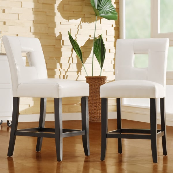 TRIBECCA HOME Mendoza White Keyhole Counter Height Stool (Set of 2)