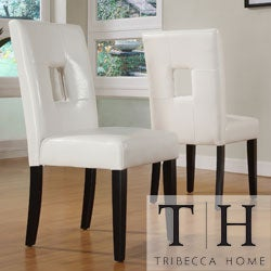 TRIBECCA HOME Mendoza White Keyhole Back Dining Chair (Set of 2)