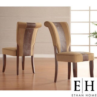 ETHAN HOME Andorra Velvet and Faux Alligator Leather Dining Chair (Set of 2)