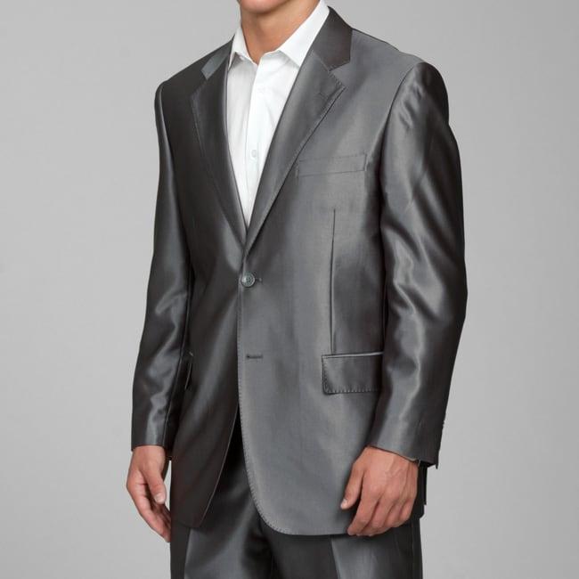 Men's Shiny Grey 2-button Suit