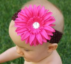 Crochet Rhinestone Daisy Headband
