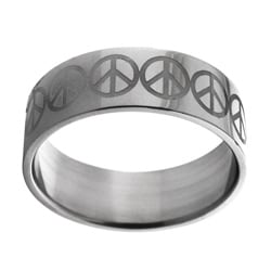 Stainless Steel Etched Peace Sign Ring