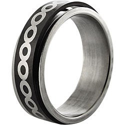 Black Stainless Steel Infinity Design Spinner Ring