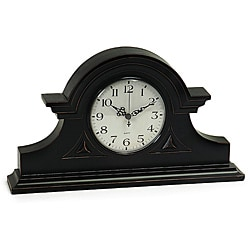 Wood Regent Stately Black Captain's Mantel Clock