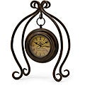 Argento Hanging Clock with Geometric Metal Stand