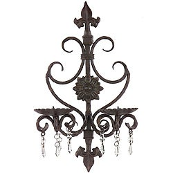 Wrought Iron Fancy Provence Candle Wall Sconce