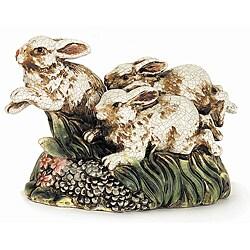 Americana Ceramic Running Rabbits Statue