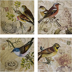 Set of 4 Americana Feathered Friends Wall Displays